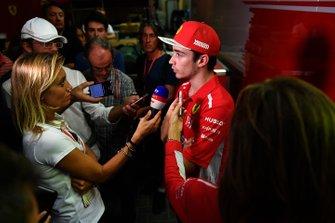 Charles Leclerc, Ferrari talks with the media