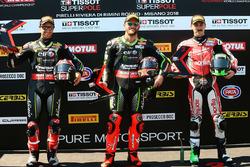Pole sitter Tom Sykes, Kawasaki Racing, second place Jonathan Rea, Kawasaki Racing, third place Eugene Laverty, Milwaukee Aprilia