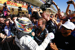 Lewis Hamilton, Mercedes AMG F1, celebrates with his team after winning the race