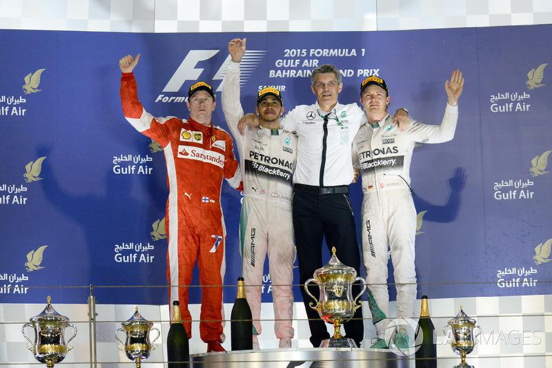 2015: 1. Lewis Hamilton, 2. Kimi Räikkönen, 3. Nico Rosberg