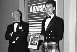 David Coulthard becomes the 1989 McLaren Autosport Young Driver of the Year with Murray Walker looking on