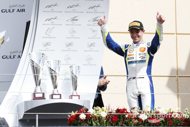 Podium: Race winner Lando Norris, Carlin