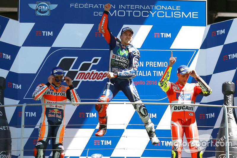 1. Jorge Lorenzo, 2. Marc Marquez, 3. Andrea Iannone