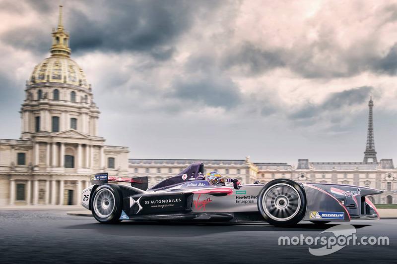 Jean-Eric Vergne, DS Virgin Racing rendering in Paris