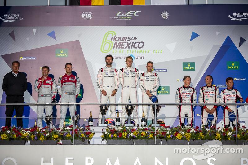 LMP1 podium: 1st place #1 Porsche Team Porsche 919 Hybrid: Timo Bernhard, Mark Webber, Brendon Hartley; 2nd place #7 Audi Sport Team Joest Audi R18: Marcel Fässler, Andre Lotterer; 3rd place #6 Toyota Racing Toyota TS050 Hybrid: Stéphane Sarrazin, Mike Conway, Kamui Kobayashi