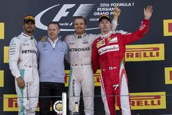 Lewis Hamilton, Mercedes AMG F1, Nico Rosberg, Mercedes AMG F1 and Kimi Raikkonen, Ferrari celebrate on the podium