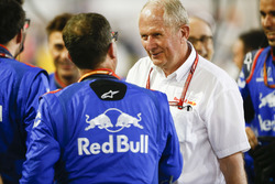 Helmut Markko, Consultant, Red Bull Racing, congratulates the Toro Rosso team on a 4th placed finish