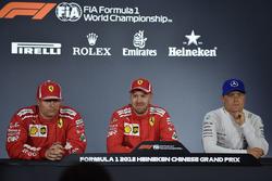 Kimi Raikkonen, Ferrari, Sebastian Vettel, Ferrari and Valtteri Bottas, Mercedes-AMG F1 in the Press Conference