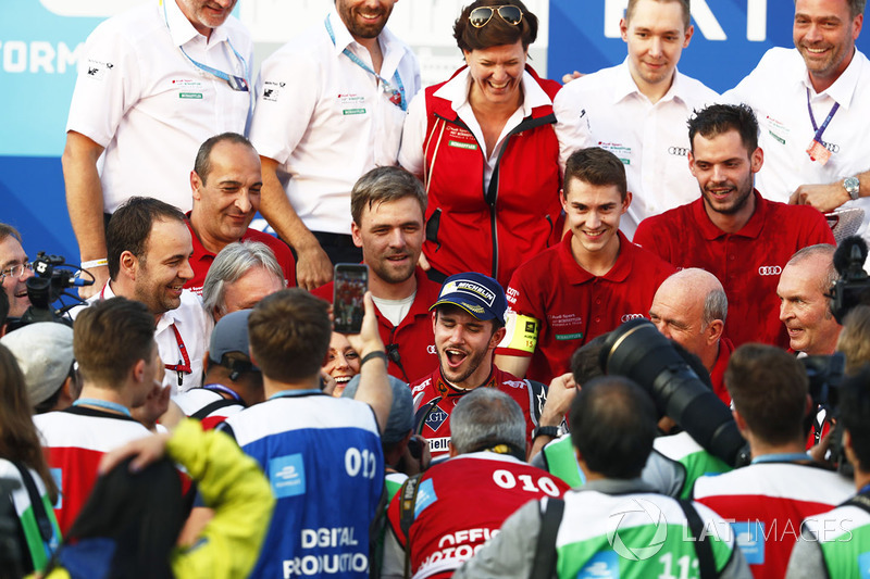 Daniel Abt, Audi Sport ABT Schaeffler, celebrtes with his team after winning the race