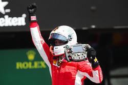 Sebastian Vettel, Ferrari celebrates in parc ferme