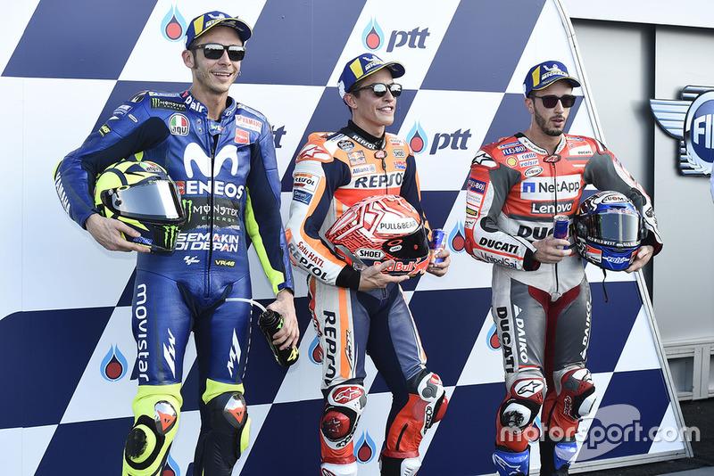 Il poleman Marc Marquez, Repsol Honda Team, Valentino Rossi, Yamaha Factory Racing, Andrea Dovizioso, Ducati Team