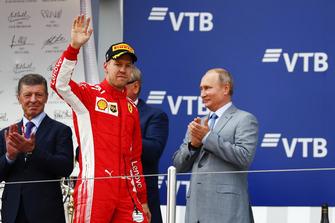 Third place Sebastian Vettel, Ferrari, on the podium
