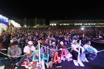 Fans gather to see Lewis Hamilton, Mercedes AMG F1, and Valtteri Bottas, Mercedes AMG F1, on stage