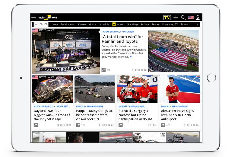 Screenshot von der Motorsport.com USA-Edition