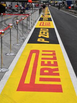 Pit lane and Pirelli branding