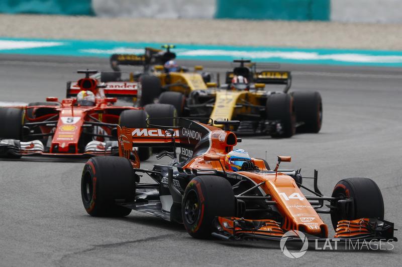 Фернандо Алонсо, McLaren MCL32, Себастьян Феттель, Ferrari SF70H, Ніко Хюлькенберг, Джоліон Палмер, Renault Sport F1 Team RS17
