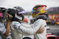 Second place Valtteri Bottas, Mercedes AMG F1, Race winner Lewis Hamilton, Mercedes AMG F1, congratulate each other in Parc Ferme