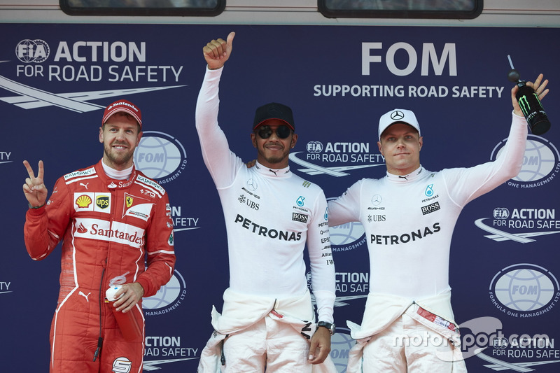 Lewis Hamilton, Mercedes AMG; Sebastian Vettel, Ferrari; Valtteri Bottas, Mercedes AMG