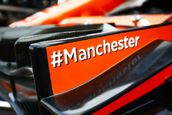Hashtag logo in solidarity, the city of Manchester on the front wing of the McLaren MCL32