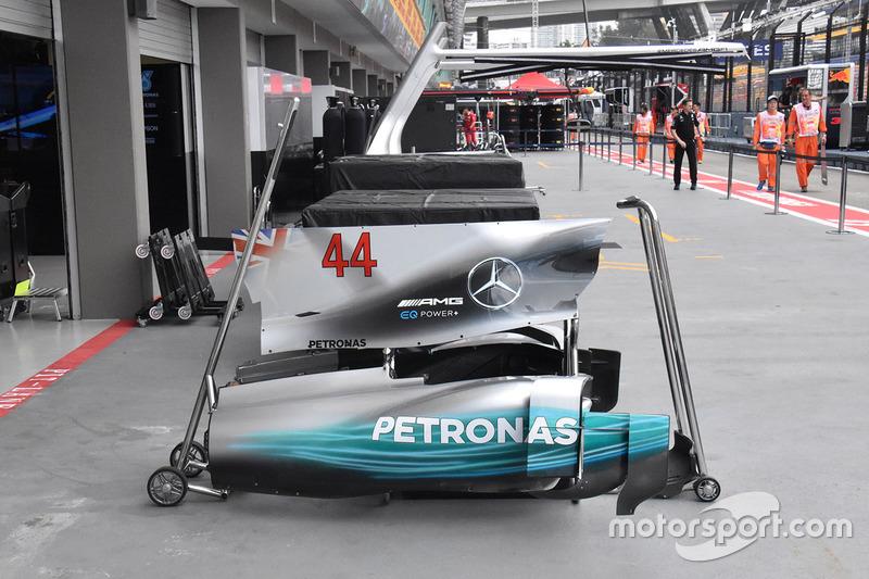 Detalle de la carrocería de Lewis Hamilton, Mercedes AMG F1 W08