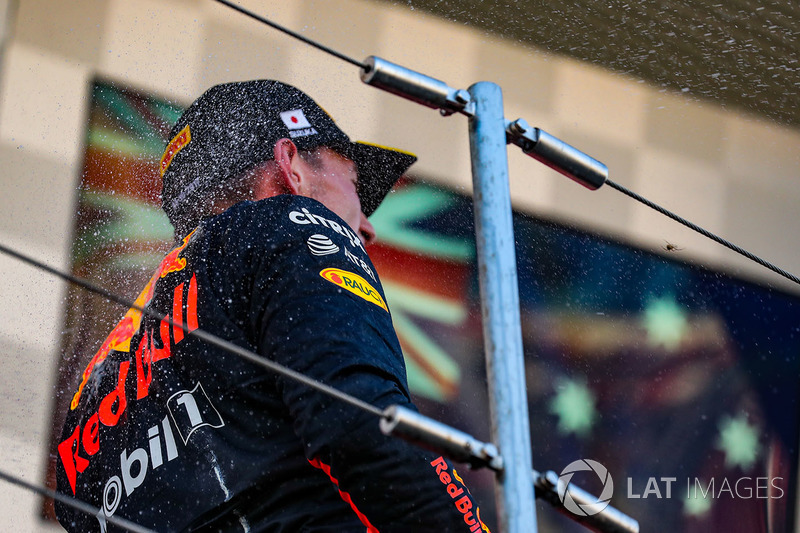 Max Verstappen, Red Bull Racing celebrates on the podium with the champagne