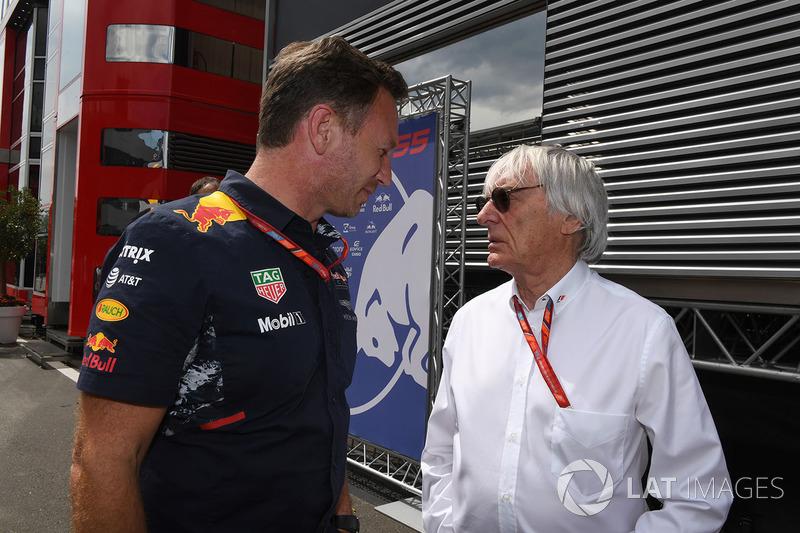 Christian Horner, Red-Bull-Teamchef; Bernie Ecclestone