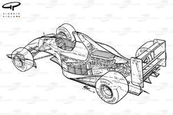 Подробная схема задней части Williams FW14B 1992 года