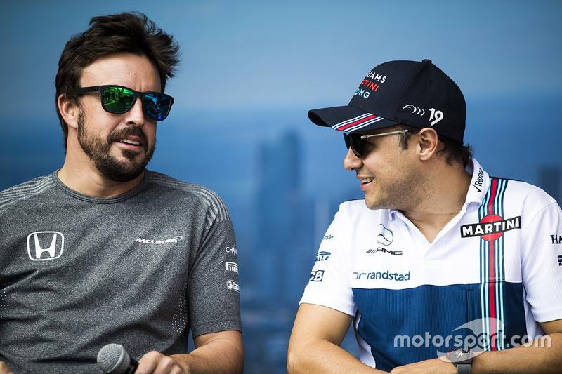 Fernando Alonso, McLaren; Felipe Massa, Williams