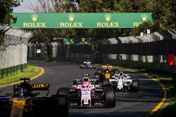Nico Hulkenberg, Renault Sport F1 Team RS17, leads Esteban Ocon, Force India VJM10, and Lance Stroll, Williams FW40
