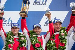 LMGT Pro podium: second place #82 Risi Competizione Ferrari 488 GTE: Giancarlo Fisichella, Toni Vilander, Matteo Malucelli