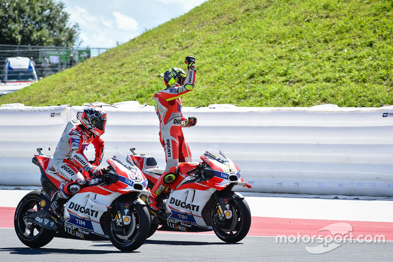 Winner Andrea Iannone, Ducati Team and second place Andrea Dovizioso, Ducati Team