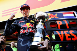 Max Verstappen, Red Bull Racing celebrates his win with his trophy