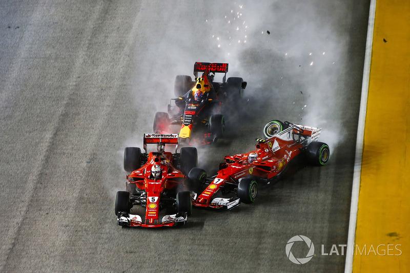 Sebastian Vettel, Ferrari, Kimi Räikkönen, Ferrari, Max Verstappen, Red Bull
