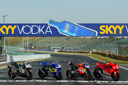 MotoGP bikes lined up