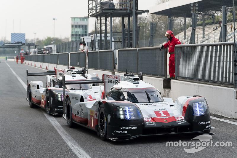#1 Porsche Team, Porsche 919 Hybrid: Neel Jani, Andre Lotterer, Nick Tandy; #2 Porsche Team, Porsche 919 Hybrid: Timo Bernhard, Earl Bamber, Brendon Hartley