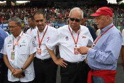 Niki Lauda, Mercedes AMG F1 Non-Executive Chairman, Tan Sri Azman, Chairman of Sepang International Circuit and Najib Razak, Malaysian Prime Minister