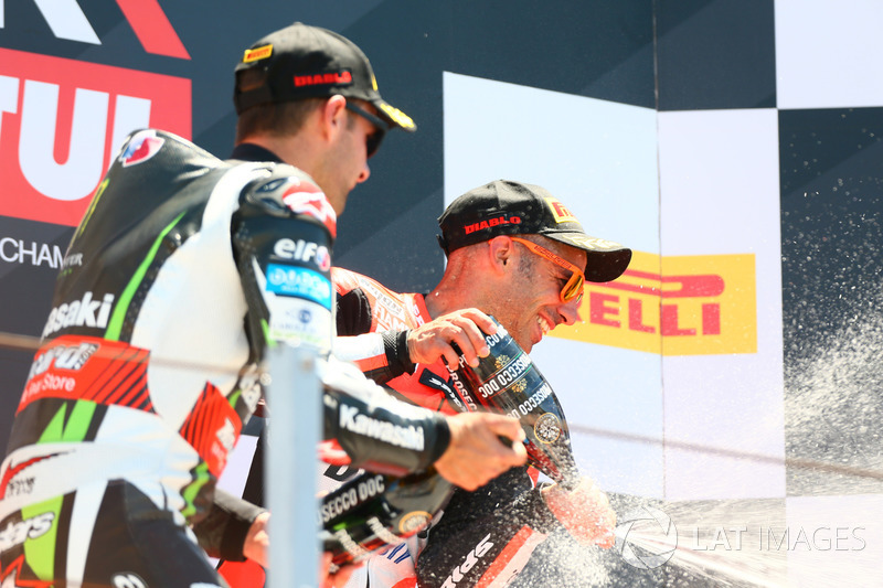 Podium: Race winner Marco Melandri, Ducati Team