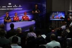 Max Verstappen, Red Bull Racing, Sebastian Vettel, Ferrari and Kimi Raikkonen, Ferrari in the Press Conference