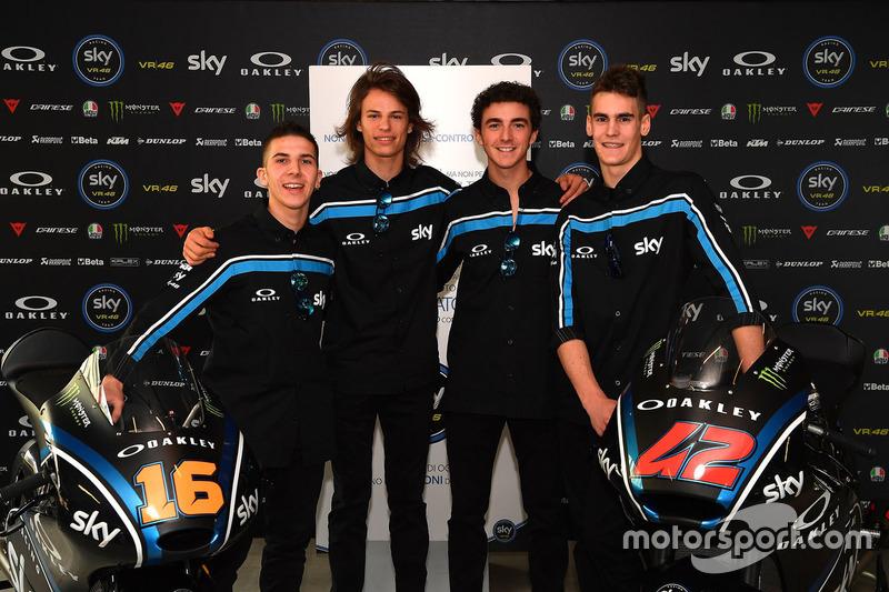 Andrea Migno, Nicolo Bulega, Francesco Bagnaia, Stefano Manzi, Sky Racing Team VR46