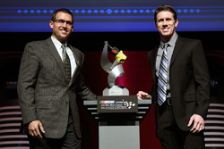 Eric Suro, Ingersoll Rand, and Carl Edwards, Joe Gibbs Racing Toyota pose with the Ingersoll Rand Power Move Award at the NASCAR NMPA Myers Brothers Awards Luncheon