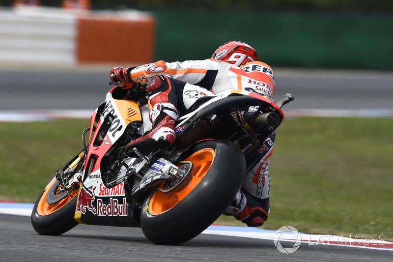 Marc Marquez, Repsol Honda Team, leaving the pits on slicks