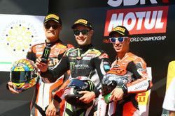 Le vainqueur, Jonathan Rea, Kawasaki Racing, Chaz Davies, Ducati Team, Marco Melandri, Ducati Team