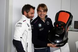 Timo Glock, BMW Team RMG, BMW M4 DTM e Augusto Farfus, BMW Team RMG, BMW M4 DTM con un'automobilina