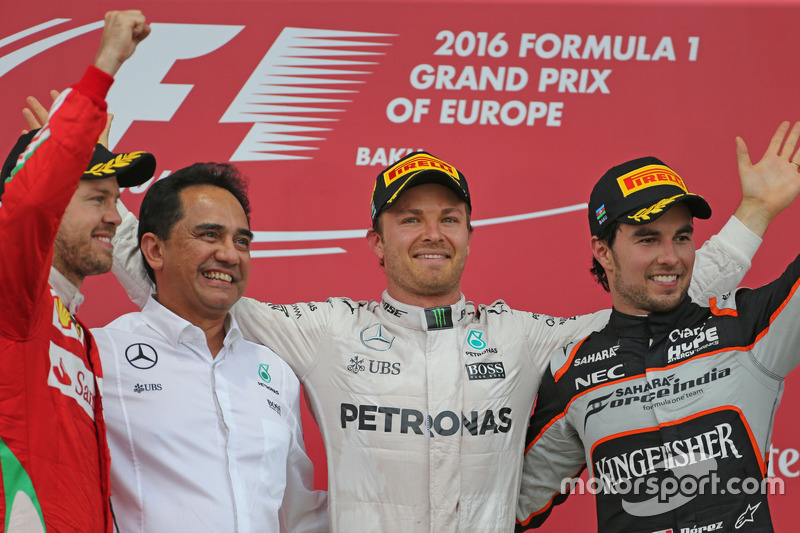 Sebastian Vettel, Scuderia Ferrari, Nico Rosberg, Mercedes AMG F1 Team, Sergio Perez, Sahara Force India