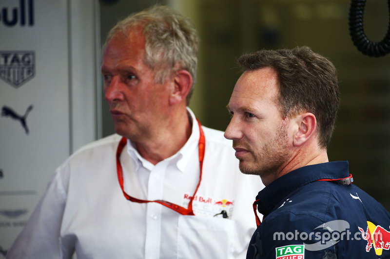 Dr. Helmut Marko, Red Bull Motorsport Consultor con Christian Horner, jefe de equipo de carreras de Red bull