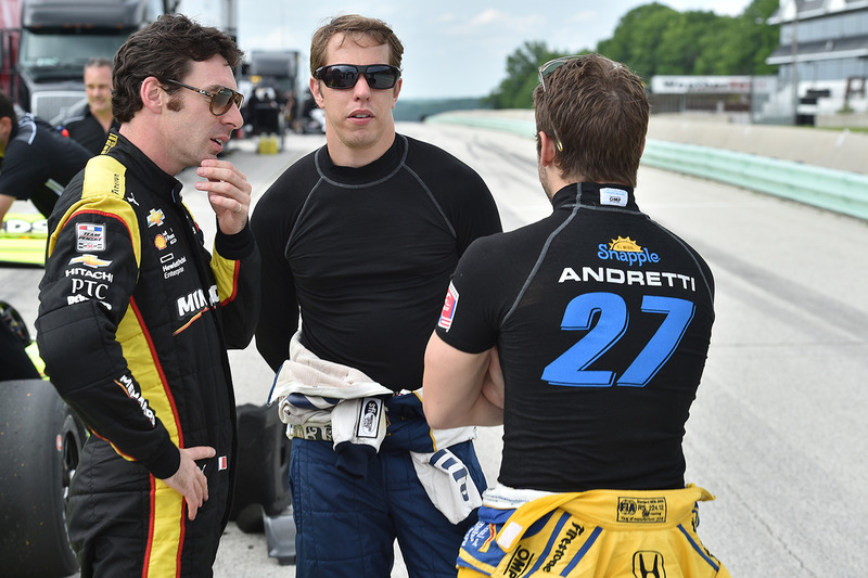 Simon Pagenaud, Brad Keselowski, Team Penske y Marco Andretti, Andretti Autosport Honda
