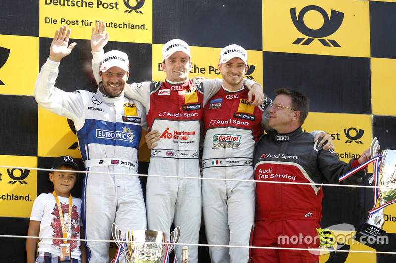 Podium: Race winner Jamie Green, Audi Sport Team Rosberg, Audi RS 5 DTM; second place Gary Paffett, Mercedes-AMG Team ART, Mercedes-AMG C63 DTM; third place Edoardo Mortara, Audi Sport Team Abt Sportsline, Audi RS 5 DTM