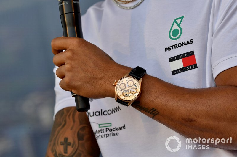 Watch on the wrist of Lewis Hamilton, Mercedes AMG F1