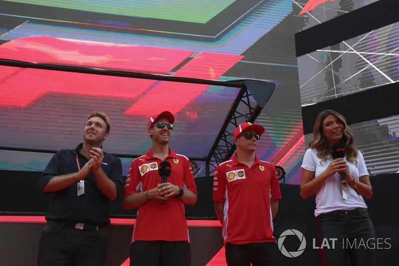 Sebastian Vettel, Ferrari ve Kimi Raikkonen, Ferrari on stage at the Fan Zone with Davide Valsecchi, Sky Italia and Federica Masolin. Sky Italia Presenter