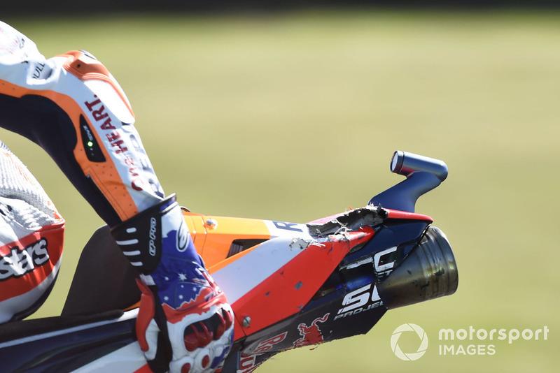 Marc Marquez, Repsol Honda Team, damaged bike